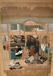 Antique Oriental Japanese Unsigned Watercolor Painting