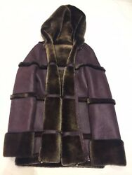 Brand New Genuine Lambskin Shearling Reversible Jacket With Hood Size Small