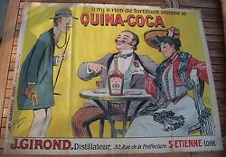 Vintage Old Original 1900 Quina Coca Poster By The Artist Dand039auvergne.
