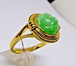 Jadeite Natural Fine Carved Apple Green Individualy Hand Made 18ct Ring