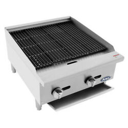 Atosa Atcb-24 24 Heavy Duty Countertop Gas Charbroiler With Lava Rocks