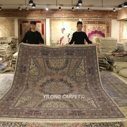 Yilong 8'x10' High Density Hand knotted Wool Silk Carpet Top Quality Rug 1902