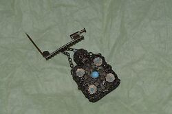 Antique Brooch Perfume Bottle Silver Filigree With Clear Glass And Blue Flowers