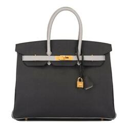 Hermes HSS Bi-Color Black & Gris Mouette Epsom Birkin 35cm Brushed Gold Hardware