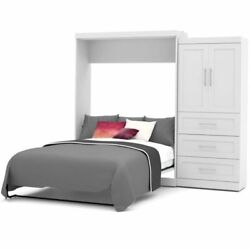 Pemberly Row Queen Wall Bed With Storage In White