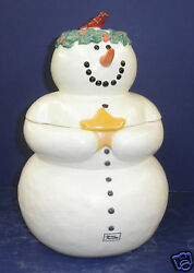 Retired Dept. 56 Once Upon A Starry Night Snowman Cookie Jar - Nib - 38902