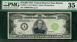 1934 $10000 bill ser # A00000100A in a PMG-35 holder from the Boston district.