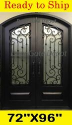 IRON FRONT ENTRY DOORS WITH TEMPERED GLASS 72''X96'' DGD1019ABP