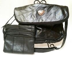 Black Patch Leather Handbag And Clutch Bag. Two Different Designs
