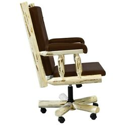 Log Desk Chair Amish Made Rustic Office Furniture Log Cabin Style Lodge Western