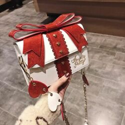 Shoulder Bags Fashion Cute Bow Women Sweet Red Handbag Famous Design Synthetic