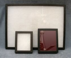 Glass-fronted Display Boxes Lot Of 3 12x16 5x6 And 4.5 X 5.5