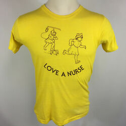 Vintage 70s Love A Nurse Doctor Hospital Paper Thin Distressed T Shirt Yellow M