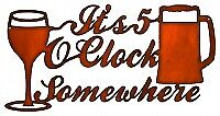Vintage Antique Style Metal Sign 5 Oclock Somewhere Faux Copper 12x22