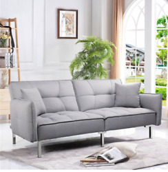 Futon Sleeper Sofa Bed Couch Dorm Furniture Loveseat Reclining Daybed Gray Linen
