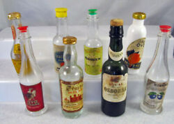 Collection Of Eight Unique Vintage Miniature Liquor Bottles Empty And Very Old