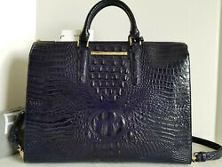 🌹brahmin Business Tote Croc Ink Navy Brief Case Leather Travel Work Bag Nwthtf