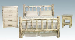 Log Bedroom Set Amish Made Queen Bed 4 Drawer Dresser And Nightstand Three Piece