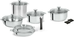 Cookware Set 13-piece Dishwasher Safe In Stainless Steel With Wide-edge Rims