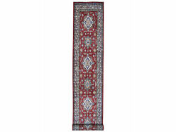 3and0393x18and0397 Super Kazak Red Geometric Design Handknotted Xl Runner Rug G50063