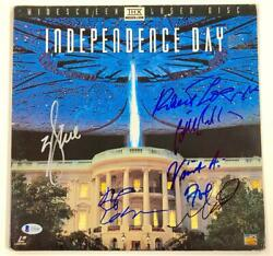 Independence Day Cast Signed Laserdisc Cover Beckett Bas Coa Will Smith +6
