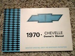 1970 Chevelle Ss Ls6 Factory Gm Original Owners Manual First Edition Sept 69 Prt