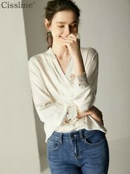 Womens 100 Silk Tops Blouses Long Sleeve V-neck Hollow Out Drape Elegant Casual