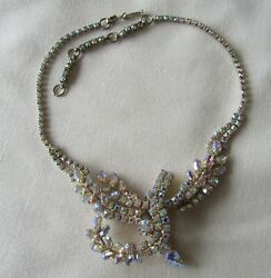 Vintage Gold Tone Necklace With Pink Ab Rhinestones