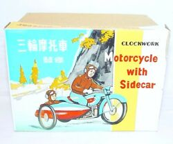 China Ms-709 Motorcycle And Sidecar 1st Edition Wind-up Tin Toy Mib`68 Fabulous