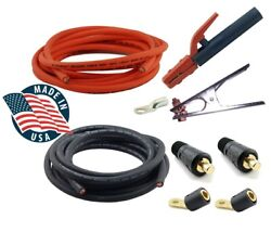 Weldingcity Two 25and039 1 Welding Cables Black Orange Stick Holder Clamp Dinse Plug