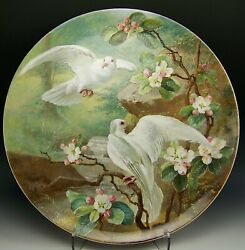 Rare 1870s Master Artist William Mussill Wedgwood Doves In Spring 16.5in Plaque