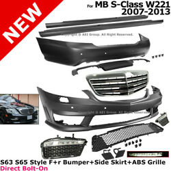 Mercedes S63 S65 AMG Style 2007-2013 Front Rear Bumpers Side Skirts Grille Set
