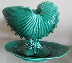 Wedgwood Green Majolica Nautilus Shell Coral Centrepiece Bowl And Underplate=1955.