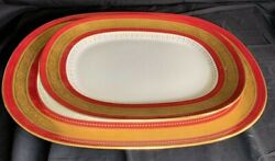 Atq Mintons Serving Platters Set Of 2 Red And Gold By Jennie B. Richardson 1899