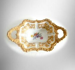 Meissen Large Handled Platter Or Serving Dish With Gold And Floral Designs