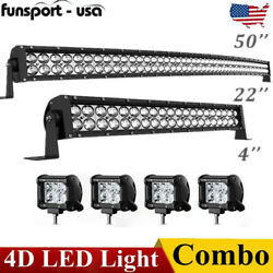 50inch Curved Led Light Bar 700w +22'' +4'' Pods Offroad For Jeep Truck Suv 4wd