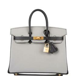 Hermes HSS Bi-Color Black & Gris Mouette Epsom Birkin 25cm Brushed Gold Hardware