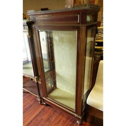 Antique Brass Mounted Vitrine. 3 Glass Sides Mirrored Back.