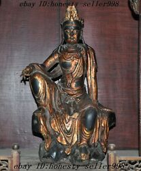 Chinese Temple Old Wood Lacquerware Hand-carved Guanyin Goddess Kwan-yin Statue