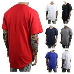 Men T Shirt BIG AND TALL Long Extended Casual Plain Basic Crew Neck Fashion S 5X