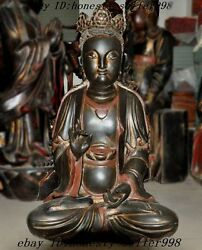 25huge Chinese Temple Lacquerware Old Wood Carved Goddess Guanyin Buddha Statue