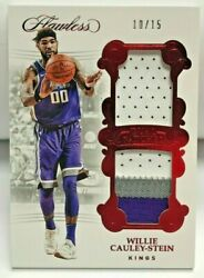 Willie Cauley-stein 2017-18 Panini Flawless Dual Patches Red 3 Color Gu Patch/15