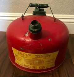 Vintage Fill-up With Billups Red 2 1/2 Gallon Gas Can - Rare Petroleum