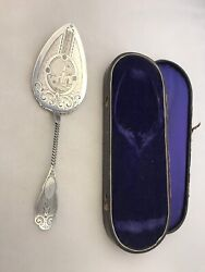 Coin Silver H And S Pie Server Engraved Castle Original Box