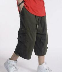 Cargo Mens Casual Overalls Shorts Pants Baggy Loose Shorts Size 32-50 Military