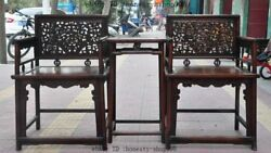36collect China Furniture Huanghuali Wood Carved Dragon Beast Tables Chair Set