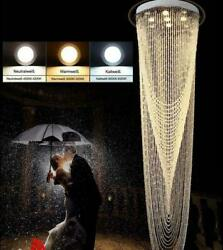 Remote Control Led Crystal Light Modern Double Staircase Chandelier Hanging Lamp