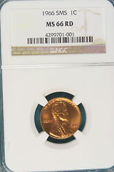 1966-p Ngc Ms66 Red Sms Lincoln Memorial Cent E1618
