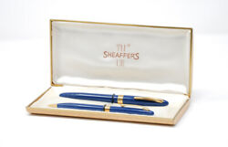 Vintage Sheaffer 14k Gold Fountain Pen And Pencil Set 1950s In Case