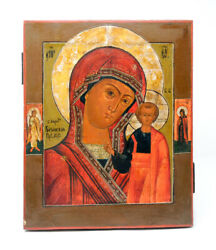 Old Russian Hand Painted Wooden Icon The Mother And Child Madonna Kazan